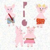 Vektorillustration av gulliga svin vektor illustrationer