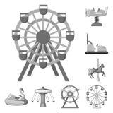 Vektorillustration av gyckel och hästsymbolen Ställ in av gyckel- och cirkusvektorsymbolen för materiel stock illustrationer