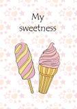 Vektorillustration av hälsningkortet med rosa glass på en pinne Arkivbild