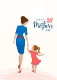 Vektorillustration av hälsningmorsa dagen Mamman rymmer hennes dotter vid handen stock illustrationer