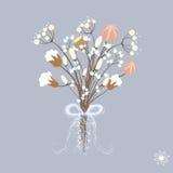 Vektorillustration av härlig garnering med vinterbuketten av blommor i pastellfärgade färger med bandet vektor illustrationer