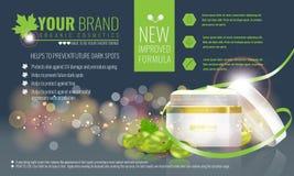Vektorillustration av härliga hydratisera kräm- kosmetiska annonser för ansiktsbehandling på bubblabakgrund stock illustrationer