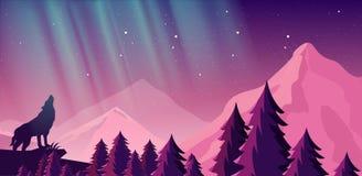 Vektorillustration av härliga nordliga ljus i natthimmel över bergen Sikt av skogen, varg i royaltyfri illustrationer
