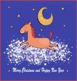 Vektorillustration av hästen på molnet Royaltyfri Fotografi