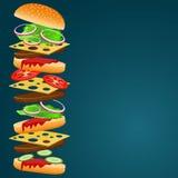 Vektorillustration av hamburgareingredienser Stock Illustrationer
