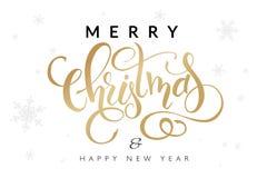 Vektorillustration av hand dragen bokstäver - glad jul och lyckligt nytt år - med snöflingor på bakgrunden Arkivfoton