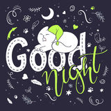 Vektorillustration av handbokstävertext - bra natt Royaltyfri Foto