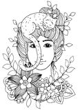 Vektorillustration av handgjort arbete, zentanglflicka med blommor och katt Vektor EPS 10 Färga sidaanti-spänningen för Arkivbild