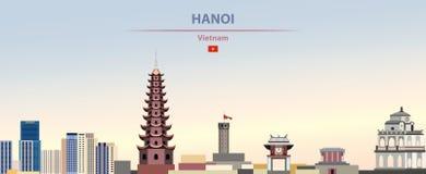Vektorillustration av Hanoi stadshorisont på härlig dagbakgrund för färgrik lutning vektor illustrationer