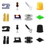 Vektorillustration av hantverket och att handcraft logo St?ll in av hantverk- och branschmaterielsymbolet f?r reng?ringsduk stock illustrationer