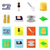 Vektorillustration av hantverket och att handcraft symbolen St?ll in av hantverk- och branschmaterielsymbolet f?r reng?ringsduk stock illustrationer