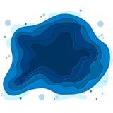 Vektorillustration av havsbotten med vågor Papper klippt djup stilvektor Djupblått marin- liv som dyker begrepp Fotografering för Bildbyråer