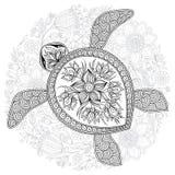 Vektorillustration av havssköldpaddan för sidor för färgläggningbok stock illustrationer