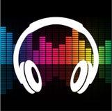 Vektorillustration av headphone- eller hörlurhörlurar med mikrofon Royaltyfria Foton