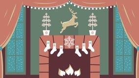 Vektorillustration av hemtrevligt inre rum med spisen och stora fönster i elegant jul och klassiska traditioner för nytt år royaltyfri illustrationer
