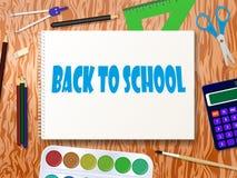 Vektorillustration av hjälpmedel för skolatillförsel royaltyfri illustrationer