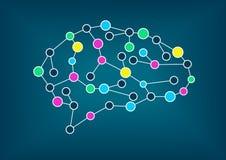 Vektorillustration av hjärnan Begrepp av uppkopplingsmöjlighet, lära för maskin, konstgjord intelligens Royaltyfri Fotografi