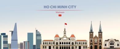 Vektorillustration av Ho Chi Minh City horisont på härlig dagbakgrund för färgrik lutning stock illustrationer