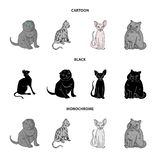 Vektorillustration av husdjur- och sphynxlogoen Samling av husdjuret och rolig vektorsymbol f?r materiel royaltyfri illustrationer