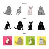 Vektorillustration av husdjur- och sphynxsymbolen Samling av husdjuret och rolig vektorsymbol f?r materiel vektor illustrationer