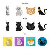 Vektorillustration av husdjur- och sphynxsymbolen St?ll in av husdjur och illustration f?r gyckelmaterielvektor vektor illustrationer