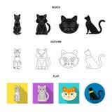 Vektorillustration av husdjur- och sphynxtecknet Samling av husdjuret och rolig vektorsymbol f?r materiel vektor illustrationer