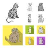 Vektorillustration av husdjur- och sphynxtecknet St?ll in av husdjur och gyckelmaterielsymbolet f?r reng?ringsduk vektor illustrationer
