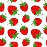 Vektorillustration av jordgubbar på vit bakgrund seamless modell Royaltyfria Foton