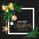 Vektorillustration av julkortet med ramen, julprydnad som hänger på gran-träd filialer och att märka royaltyfri illustrationer