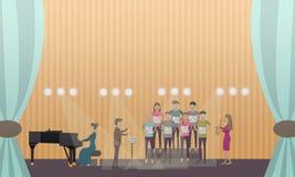 Vektorillustration av kören och pianisten som utför på etapp royaltyfri illustrationer