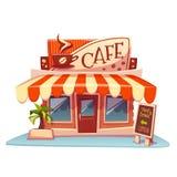 Vektorillustration av kafébyggnad med ljust arkivfoton