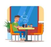 Vektorillustration av kafédesignbeståndsdelen med besökaren som har lunch vektor illustrationer