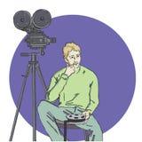 Vektorillustration av kameraman stock illustrationer