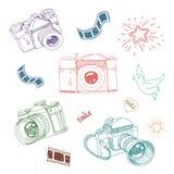 Vektorillustration av kameran och fotografi Royaltyfri Foto