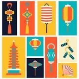 Vektorillustration av kinesiska symboler och objekt Royaltyfri Foto