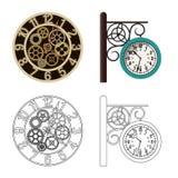 Vektorillustration av klockan och tidtecknet Samling av klocka- och cirkelmaterielsymbolet för rengöringsduk stock illustrationer