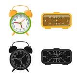 Vektorillustration av klockan och tidtecknet Uppsättning av illustrationen för klocka- och cirkelmaterielvektor stock illustrationer