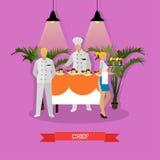 Vektorillustration av kocken, headwaiteren och servitrins, restaurangkökinre royaltyfri illustrationer