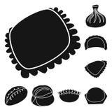 Vektorillustration av kokkonst och aptitretarelogoen St?ll in av kokkonst- och matmaterielsymbolet f?r reng?ringsduk royaltyfri illustrationer