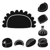 Vektorillustration av kokkonst och aptitretaresymbolen Ställ in av kokkonst- och matvektorsymbolen för materiel stock illustrationer