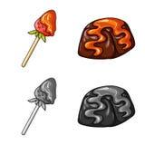 Vektorillustration av konfekt och den kulinariska logoen Samling av konfekt- och produktvektorsymbolen f?r materiel stock illustrationer