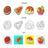 Vektorillustration av konfekt och det kulinariska tecknet Samling av konfekt- och produktvektorsymbolen f?r materiel stock illustrationer