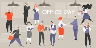 Vektorillustration av kontorsdagen med upptaget folk som utför deras arbetsarbetsuppgifter vektor illustrationer