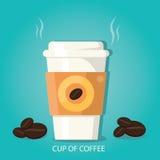 Vektorillustration av kopp kaffekoppen kaffe med bönor Vektor Illustrationer