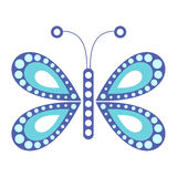 Vektorillustration av krypet, blå fjäril, på den vita bakgrunden Arkivfoto