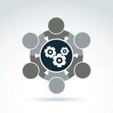 Vektorillustration av kugghjul - företagsystemtema, affär royaltyfri illustrationer
