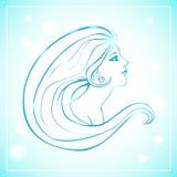 Vektorillustration av kvinnan med långt hår Royaltyfri Bild