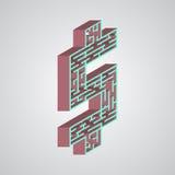 Vektorillustration av labyrint Isometrisk dollar vektor illustrationer