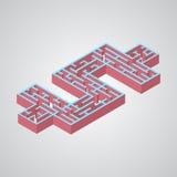Vektorillustration av labyrint Isometrisk dollar stock illustrationer