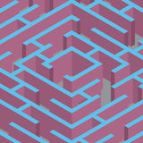 Vektorillustration av labyrint Isometrisk labyrint vektor illustrationer